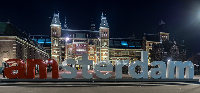I Amsterdam sign and Rijks museum