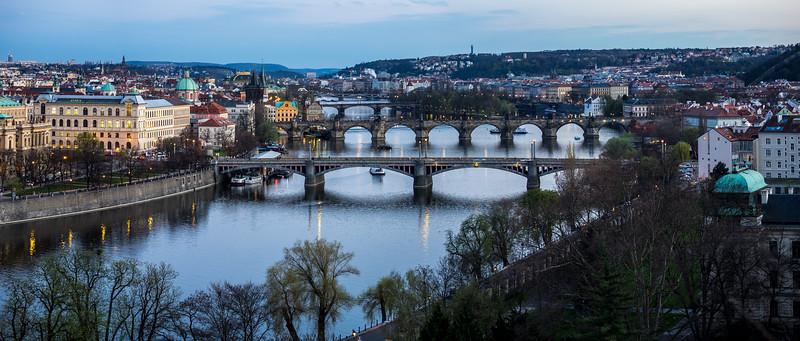 Overlook of bridges on Vltava river, Prague