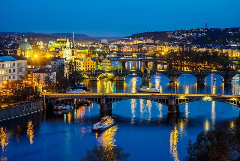 Prague bridges on Vltava river at night