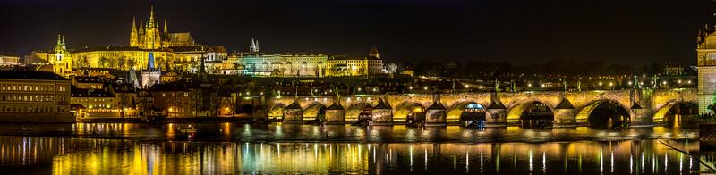 Panorama of Prague Castle complex, Charles Bridge and Vltava river