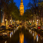 """Zuiderkerk at Night along the Canals""  Amsterdam, Netherlands"