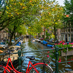 "Red Bicycle, Flower Boxes and Amsterdam Canals in the Jordaan"" Amsterdam, Netherlands 4347"