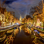"""Rijksmuseum and Canals at Night in Amsterdam""."