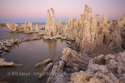 Tufa formations at Mono Lake just after sunset.