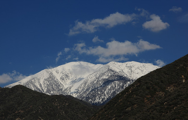 The snow-covered Mt. Baldy peak in February, 2011. Angeles National Forest, California.