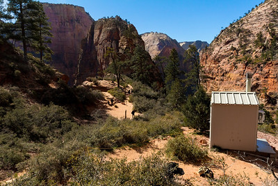 This is Scout Lookout, at the start of Angel's Landing Trail, and a good rest spot with a great view of the valley below. It is where visitors assess the trail to see if they are up for the remaining section of the hike, which quickly turns near vertical just ahead.