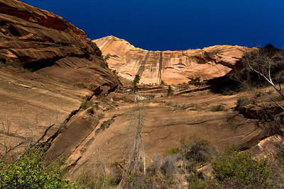 Looking nearly straight up from the bottom of West Rim Trail.
