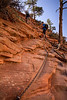First steep trail section, Angel's Landing.