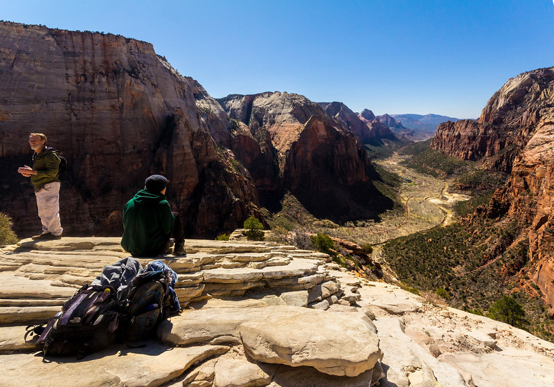 The view from the top of Angel's landing. The fellow at left and myself had the rest of the mountaintop viewers covered in years by quite a bit.