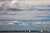 Dramatic sky with Thomas Point Lighthouse in the background, Chesapeake Bay, Maryland.