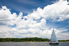 Sailing on the Chesapeake Bay with no wind but a dramatic sky.