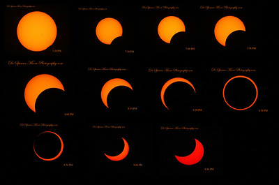 This is a composite shot of the Annular Solar Eclipse every 10 minutes up until the perfect moment. The times noted on each phase is in Central Day Light Time as noted in the camera but we were in Mountain time so they are 1 hour earlier when actually shot in New Mexico, Mountain Day Light time.