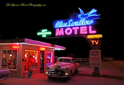 While in Tucumcari NM we stayed in the Blue Swallow Motel right on Route 66. A perfect flash back to the 50s. It was like a movie set. If you ever go there you must call for a reservation. They stay booked up just about every night. You've never seen anything like it.