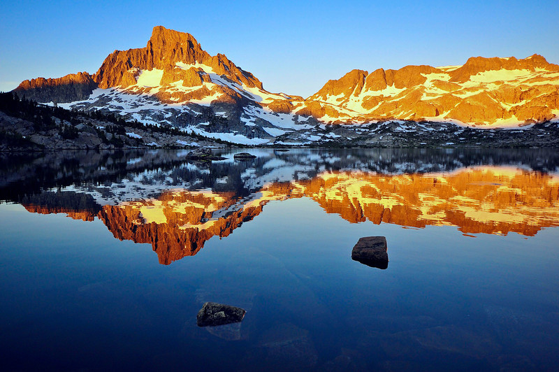 Dawn, Thousand Island Lake, Banner Peak and Mt. Davis, Ansel Adams Wilderness