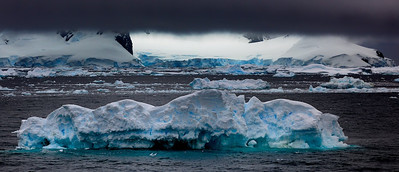 Icebergs and black cloud
