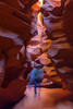Upper Antelope Canyon, shown here, is wider and very flat which equates to easy walking. Lower Canyon, on the other hand, is a more vertical adventure with ladders, close walls, and very tight turns.