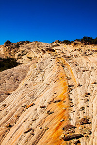Ascending the sea of slickrock during the late afternoon sun on Yellow Rock gives countless texture and color variations across the sandstone.