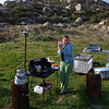 Breakfast at Paroli Homesite and Pena Spring. Maggie shows of the fresh fruit she brought for our cereal.
