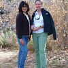 Illene and Maggie at Angelina Spring. This little oasis of cottonwood trees amid the damp ground can be found off of Grapevine Canyon, a winding sandy canyon route into Anza Borrego.