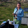 On the first night we camped here at Peroli's Homestead at 2800 feet asl in Culp Valley. Here's Maggie making breakfast in the morning sun. She's holding her favorite French, rose wood handled pocket knife, which she found on a trail above Pasadena.