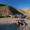 We travelled in high clearance 4x4 vehicles. It's not a driving trip for the average car or faint hearted. If you want to see similar scenery in your sedan or pick up truck, go to Palm Canyon near the Anza Borrego Desert Park Visitor's Center in the town of Borrego Springs and walk an easy trail to an oasis and spring fed pools. Our destination was a very remote canyon that runs off of Coyote Canyon a few miles northwest of Borrego Springs.<br /> To get here we drove the Jeep GC through a wide stream pushing a deep wake ahead of the bumper. We could feel the water flowing up under the floor boards and had water part way up the doors. Then we creeped slowly up a treacherous narrow rocky gulch, over and around tire-sized boulders, making our way to reach 4 converging canyons, including Sheep Canyon and Cougar Canyon.<br /> We took firewood so we could build a fire in one of the rings but it was too windy on Saturday night to start a fire. Fires, we later learned, are not allowed on the open ground, only in the steel campfire rings.<br /> Here are a few images shot with the E-3 & 7-14 mm. These were taken in a stream that flows out of the mountains below Warner Springs and Julian.