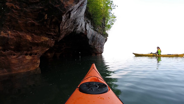 Sand Island- Paddling through a Sea Cave. (Tami following/ 3 doors)