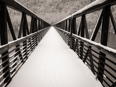 Crossing the Foot Bridge in a Winter Storm