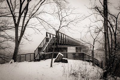 The Foot Bridge in Winter Storm on the Appalachian Trail just south of route 501 crossing in Virginia. The Foot Bridge spans the James River and is the longest foot bridge on the entire Appalachian Trail.