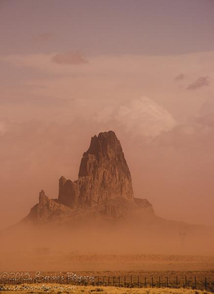 Monuement valley under dust storm.