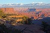 Canyons and La Sal Mountains from Dead Horse Point State Park. Late light, just before sunset, deep shadows