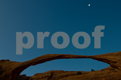 Moon Setting over Landscape Arch, Arches National Park, Utah