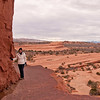 The trail goes along this ledge near Delicate Arch.
