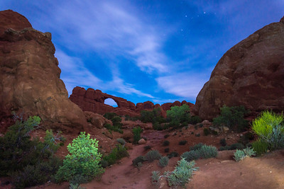 Arches National Park at night.