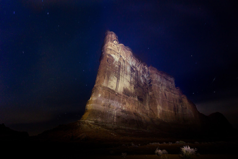 This is a 181 second time exposure at ISO 800, f5.6. The 300 ft. high Tower of Babel was painted with two powerful spotlights during the exposure, one in each hand.
