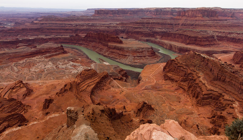 Dead Horse Point in late morning on a cloudy day.
