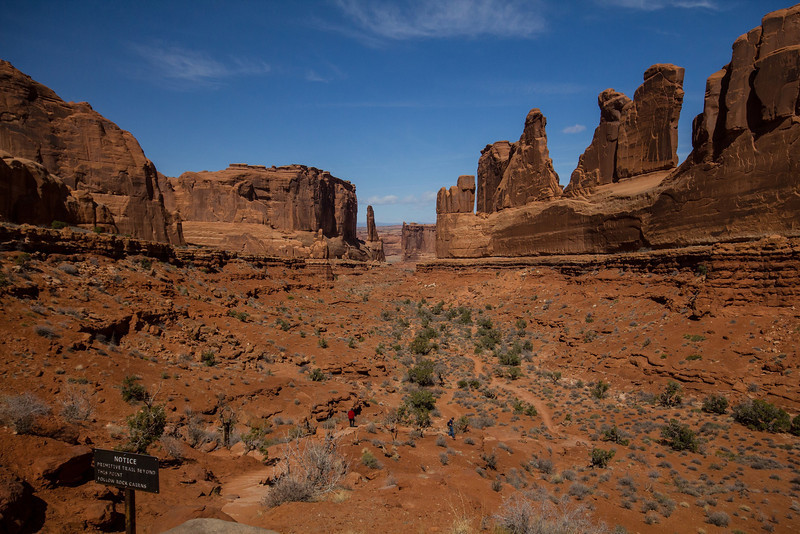 Park Avenue, one of the first major formations visitors encounter at Arches N.P. A steep, climbing road takes visitors to the main plateau. The main features in the park are all at an elevation much higher than the Visitor Center and neighboring Moab, Utah.