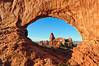 Looking at Turret Arch Through The North Window Arch - Arches National Park - Utah