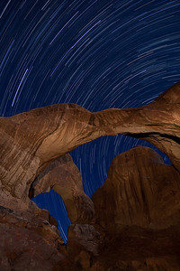 Star Trails, Double Arch, Arches NP, Utah.