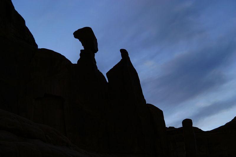 Park Avenue Profile at twilight, Arches National Park, Utah