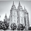Salt Lake LDS Temple an hour before sunset - Black and White