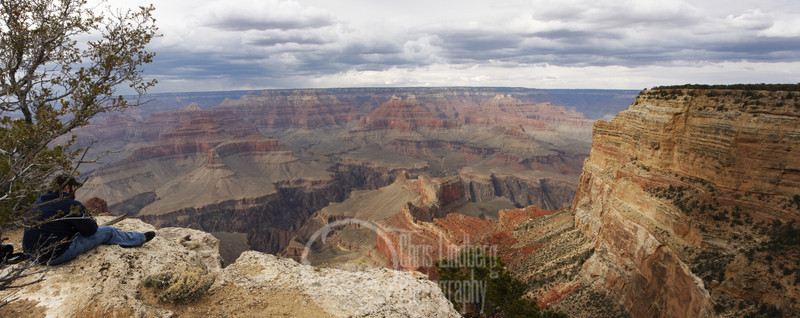 Panorama of Grand Canyon a couple of miles west of the Village.  A composite of around 38 megapixels from 8 or 9 separate images.