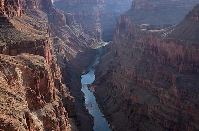 Three Thousand Below. The Colorado River is 3000 feet below the vertical cliffs at Toroweap.