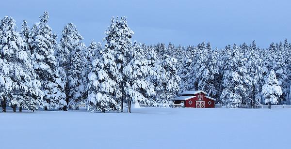 Red Barn in Winter Dawn