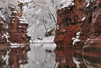 Winter Pool Snow rims the redrock along Oak Creek