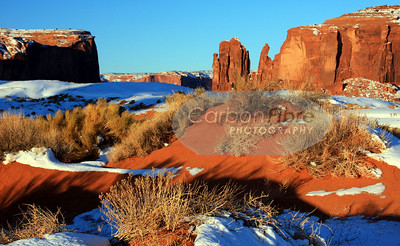 Sand Dune in Snow, Monument Valley
