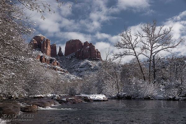 Cathedral Rock Covered In Snow