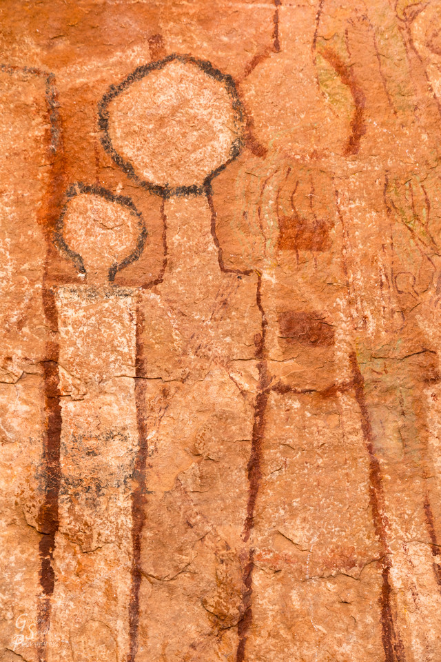 Round headed pictograph located in Tuckup Canyon, Arizona