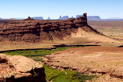 Monument Valley View looking east to west from Chinle Wash on the Navajo reservation