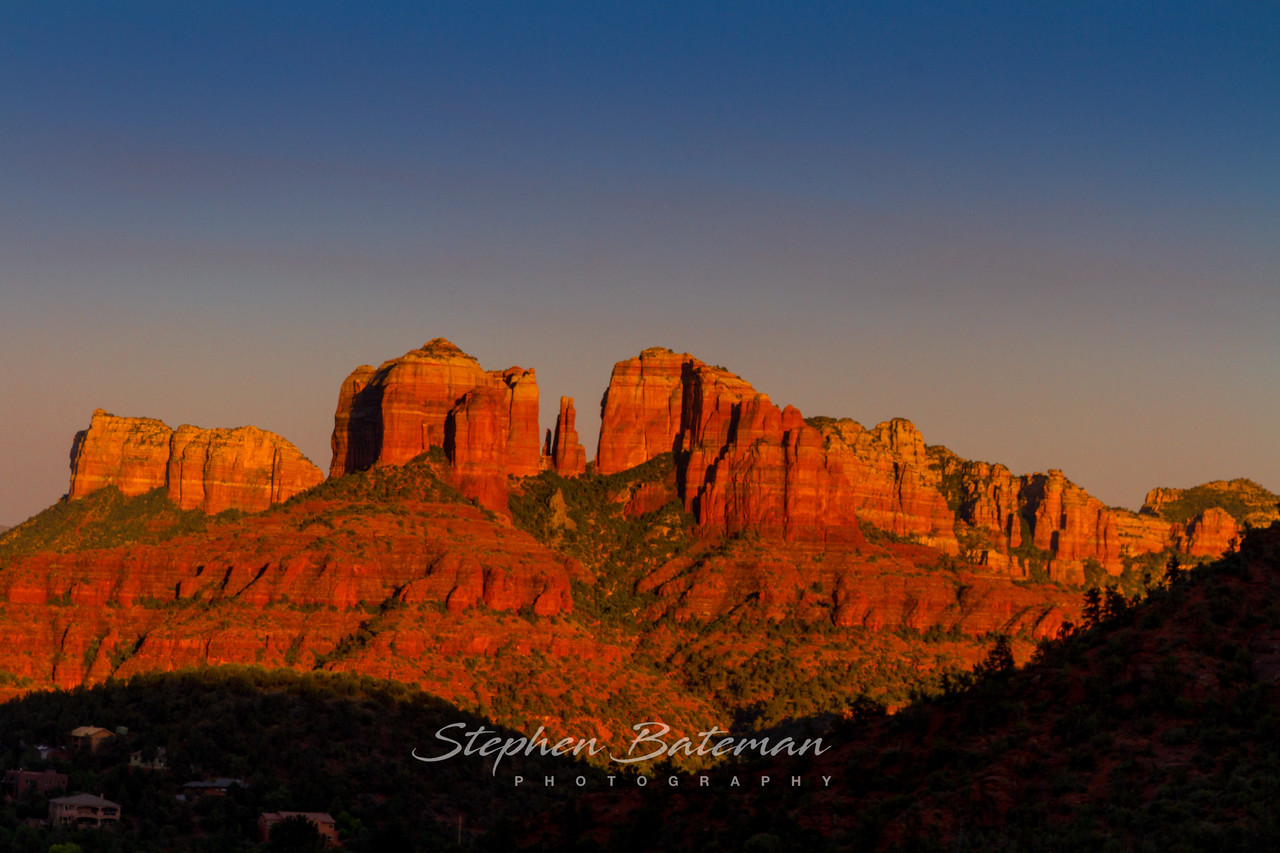 Sedona red rocks at Sunset