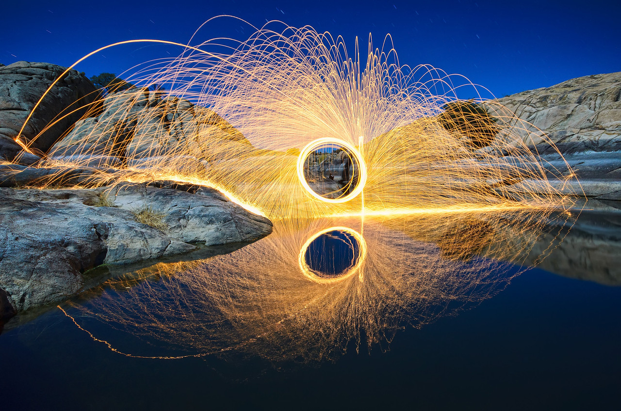 Spinning sparks at Willow Lake in Prescott, AZ